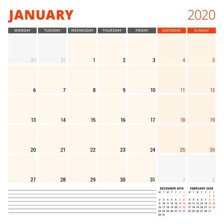 Planificateur de calendrier pour janvier 2020. Modèle de conception de papeterie. La semaine commence le lundi. Vecteurs