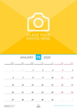 January 2020. Wall calendar planner with place for photo. Vector design print template. Week starts on Monday