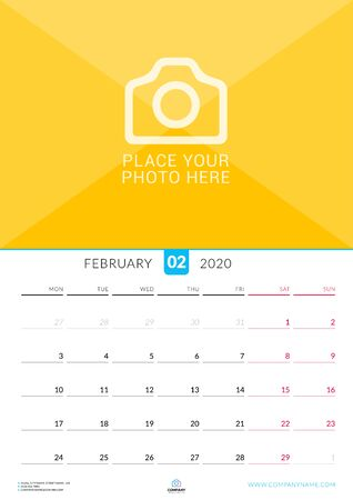 February 2020. Wall calendar planner with place for photo. Vector design print template. Week starts on Monday