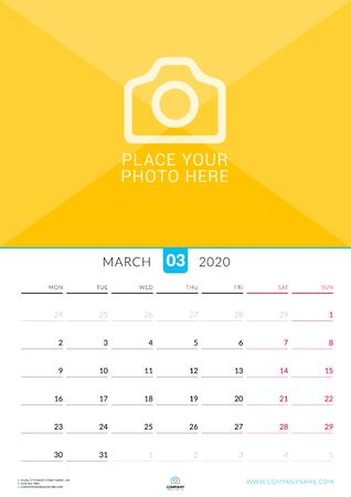 March 2020. Wall calendar planner with place for photo. Vector design print template. Week starts on Monday