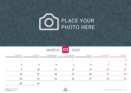 March 2020. Wall calendar planner with place for photo. Vector design print template. Week starts on Monday. Landscape orientation