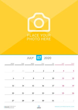 July 2020. Wall calendar planner with place for photo. Vector design print template. Week starts on Monday