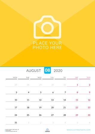 August 2020. Wall calendar planner with place for photo. Vector design print template. Week starts on Monday