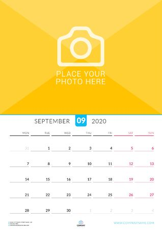 September 2020. Wall calendar planner with place for photo. Vector design print template. Week starts on Monday