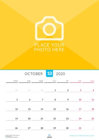 October 2020. Wall calendar planner with place for photo. Vector design print template. Week starts on Monday Çizim