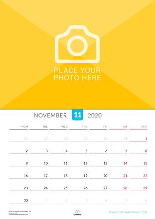 November 2020. Wall calendar planner with place for photo. Vector design print template. Week starts on Monday Ilustracja