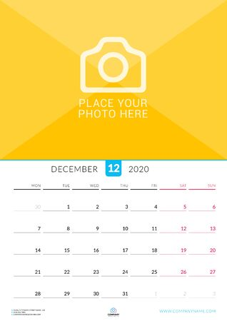 December 2020. Wall calendar planner with place for photo. Vector design print template. Week starts on Monday