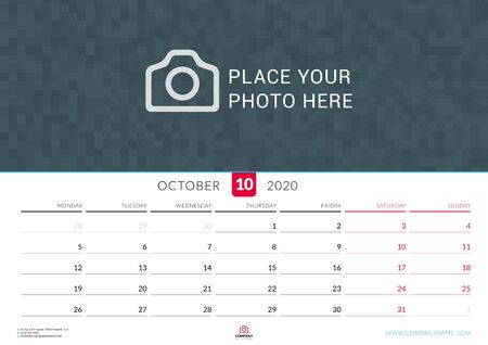 October 2020. Wall calendar planner with place for photo. Vector design print template. Week starts on Monday. Landscape orientation Çizim