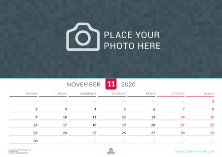 November 2020. Wall calendar planner with place for photo. Vector design print template. Week starts on Monday. Landscape orientation