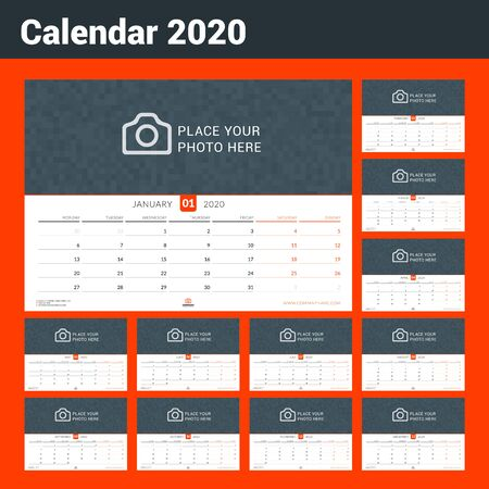Calendar for 2020. Wall calendar planner with place for photo. Vector design print template. Week starts on Monday. Landscape orientation
