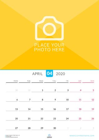 April 2020. Wall calendar planner with place for photo. Vector design print template. Week starts on Monday Çizim