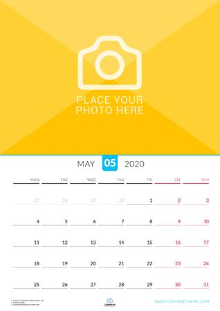 May 2020. Wall calendar planner with place for photo. Vector design print template. Week starts on Monday