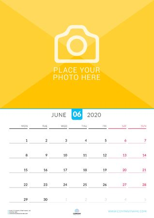 June 2020. Wall calendar planner with place for photo. Vector design print template. Week starts on Monday