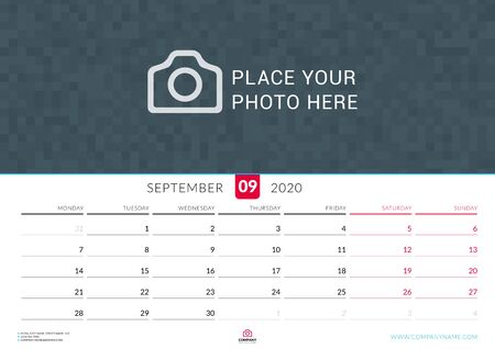 September 2020. Wall calendar planner with place for photo. Vector design print template. Week starts on Monday. Landscape orientation Çizim