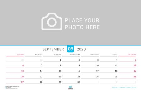 September 2020. Wall calendar planner with place for photo. Vector design print template. Week starts on Sunday. Landscape orientation