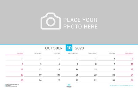 October 2020. Wall calendar planner with place for photo. Vector design print template. Week starts on Sunday. Landscape orientation