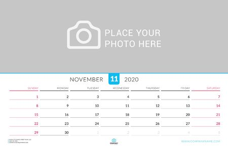 November 2020. Wall calendar planner with place for photo. Vector design print template. Week starts on Sunday. Landscape orientation
