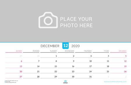 December 2020. Wall calendar planner with place for photo. Vector design print template. Week starts on Sunday. Landscape orientation