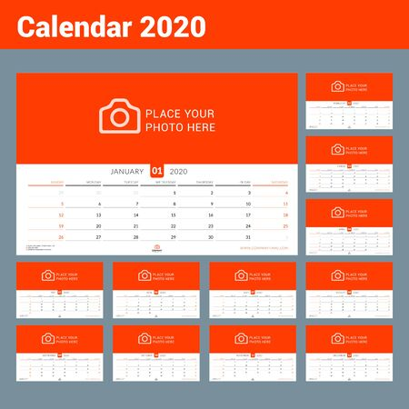 Calendar 2020. Wall calendar planner with place for photo. Vector design print template. Week starts on Sunday. Landscape orientation, Set of 12 months