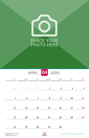 April 2020. Wall calendar planner with place for photo. Vector design print template. Week starts on Sunday