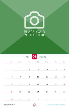 June 2020. Wall calendar planner with place for photo. Vector design print template. Week starts on Sunday