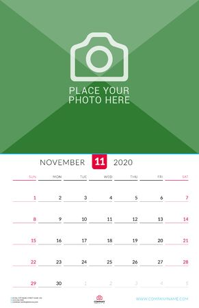 November 2020. Wall calendar planner with place for photo. Vector design print template. Week starts on Sunday Çizim