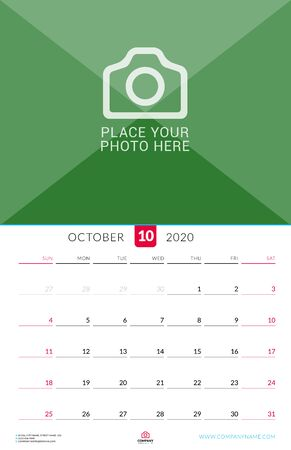 October 2020. Wall calendar planner with place for photo. Vector design print template. Week starts on Sunday