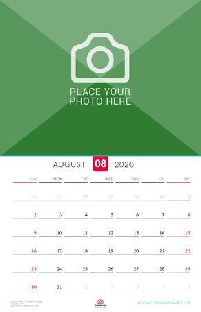 August 2020. Wall calendar planner with place for photo. Vector design print template. Week starts on Sunday