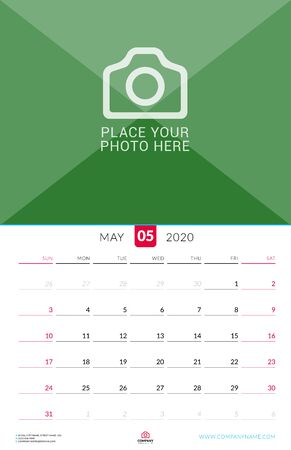 May 2020. Wall calendar planner with place for photo. Vector design print template. Week starts on Sunday Çizim