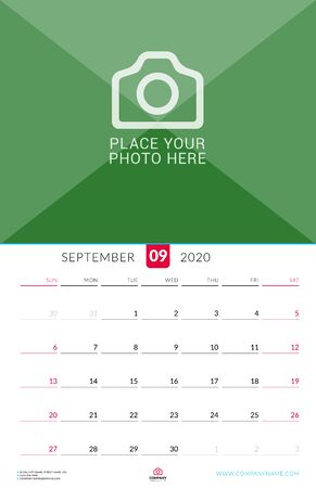 September 2020. Wall calendar planner with place for photo. Vector design print template. Week starts on Sunday