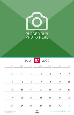 July 2020. Wall calendar planner with place for photo. Vector design print template. Week starts on Sunday Çizim
