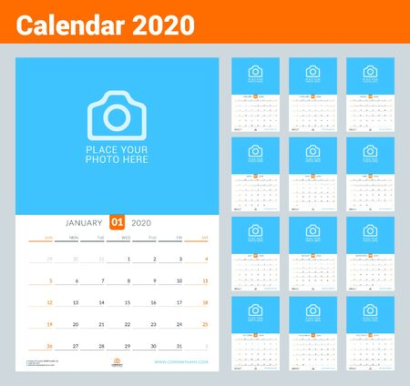Calendar for 2020. Wall calendar planner with place for photo. Vector design print template. Week starts on Sunday
