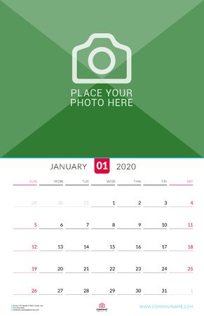 January 2020. Wall calendar planner with place for photo. Vector design print template. Week starts on Sunday Çizim