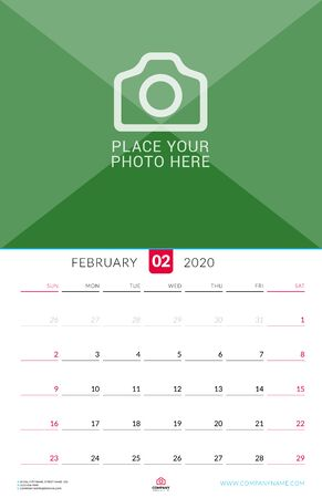 February 2020. Wall calendar planner with place for photo. Vector design print template. Week starts on Sunday