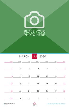 March 2020. Wall calendar planner with place for photo. Vector design print template. Week starts on Sunday