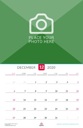 December 2020. Wall calendar planner with place for photo. Vector design print template. Week starts on Sunday