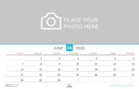 June 2020. Wall calendar planner with place for photo. Vector design print template. Week starts on Sunday. Landscape orientation Çizim