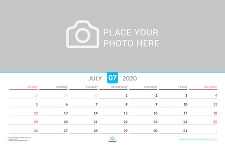 July 2020. Wall calendar planner with place for photo. Vector design print template. Week starts on Sunday. Landscape orientation