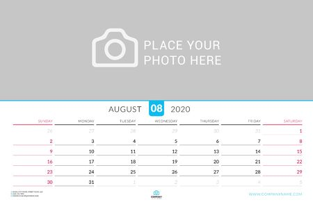 August 2020. Wall calendar planner with place for photo. Vector design print template. Week starts on Sunday. Landscape orientation