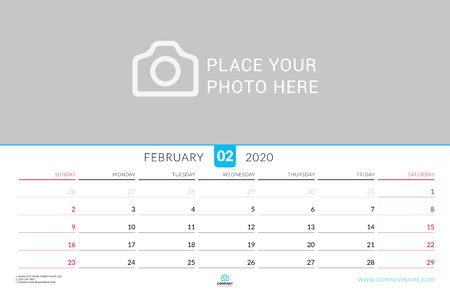 February 2020. Wall calendar planner with place for photo. Vector design print template. Week starts on Sunday. Landscape orientation