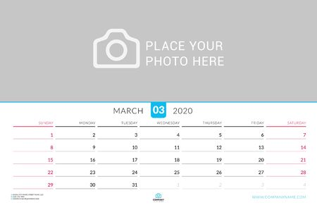 March 2020. Wall calendar planner with place for photo. Vector design print template. Week starts on Sunday. Landscape orientation