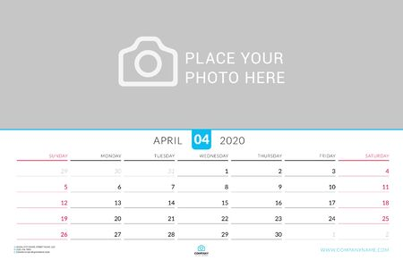 April 2020. Wall calendar planner with place for photo. Vector design print template. Week starts on Sunday. Landscape orientation