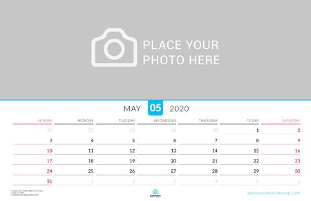 May 2020. Wall calendar planner with place for photo. Vector design print template. Week starts on Sunday. Landscape orientation