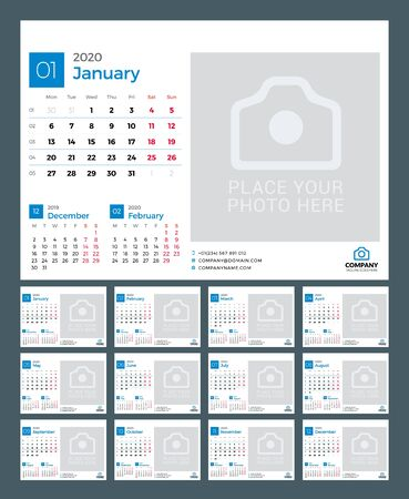 Desk calendar for 2020 year. Vector design print template with place for photo. Week starts on Monday. 12 pages Ilustração