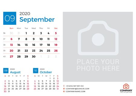 Calendar for September 2020. Vector design print template with place for photo. Week starts on Sunday. 3 months on page