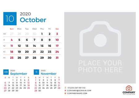 Calendar for October 2020. Vector design print template with place for photo. Week starts on Sunday. 3 months on page