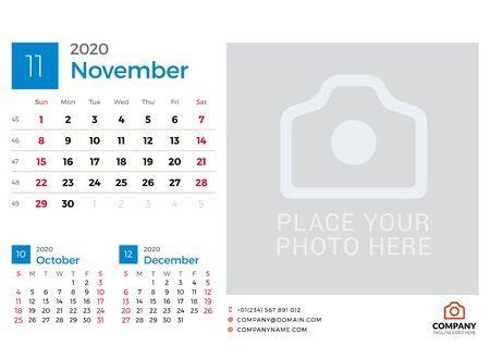 Calendar for November 2020. Vector design print template with place for photo. Week starts on Sunday. 3 months on page Çizim