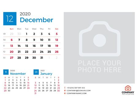 Calendar for December 2020. Vector design print template with place for photo. Week starts on Sunday. 3 months on page
