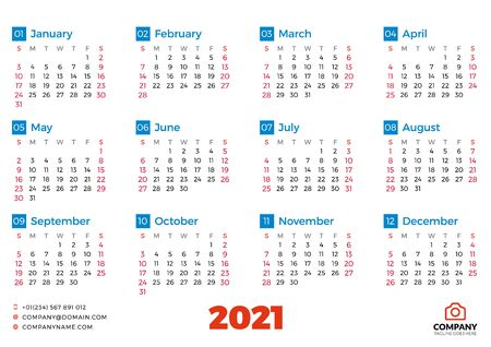 Simple calendar template for 2021 year. Week starts on Sunday. Vector illustration