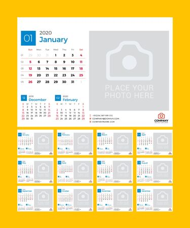 Desk calendar for 2020 year. Vector design print template with place for photo. Week starts on Sunday. 12 pages Çizim